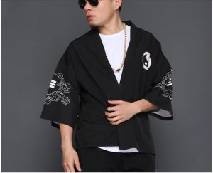 Front Kanji Kimono Shirt Kanji Do , Ying Yang , I-Ching, Flying Crane