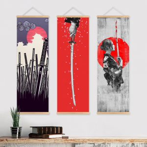 Samurai Girl Solid wood Hanging Scroll decorative painting 2